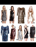 cekinowe srebrna sukienka xs...