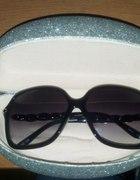 srebrne duże etui pokrowiec pudełko na okulary