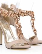 Sandałki złoty łancuch