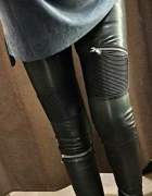 Skórzane spodnie Zara z zamkami zip