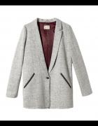 Pull&Bear wool płaszcz wełniany oversize melanż
