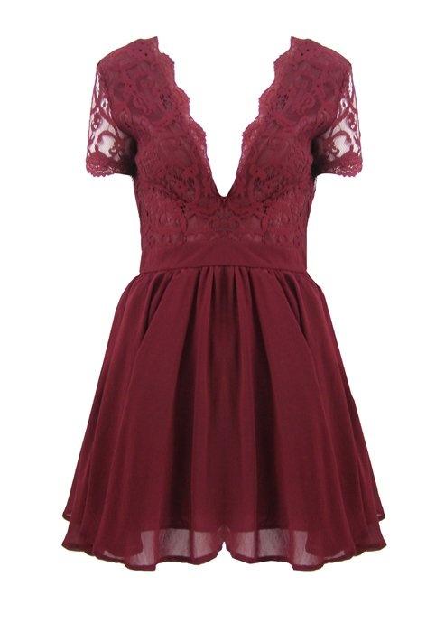 Ubrania Sukienka bordowa koronkowa