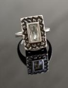 Srebrny oryginalny stary pierścionek 17mm