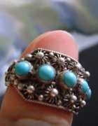 Stary pierścionek z turkusami cannetille