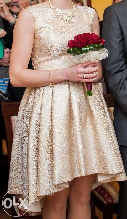 złota sukienka asymetryczna...