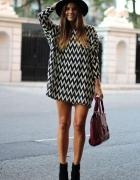 Tunika Sukienka biało czarna