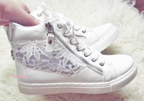 Trampki białe sneakersy koronka rozmiar 38