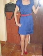 retro kobaltowa sukienka