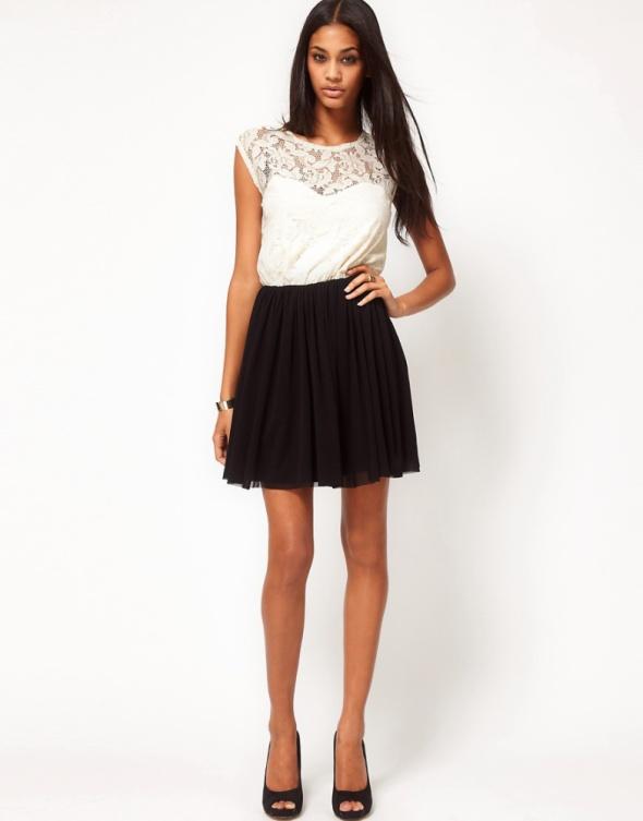 Ubrania Sukienka koronkowa biało czarna ASOS