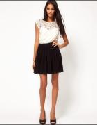 Sukienka koronkowa biało czarna ASOS...