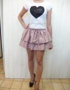 pudrowa różowa spódnica falbanki seksowna top szpi...