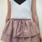 pudrowa różowa spódnica falbanki seksowna top szpi