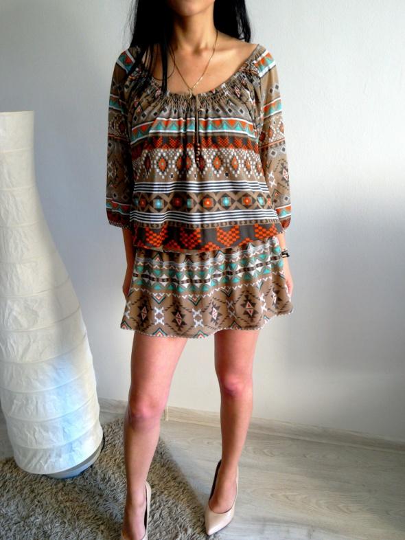 6a8d7b4898 Sukienka boho aztecka wzory falbanka hiszpanka L w Suknie i sukienki ...