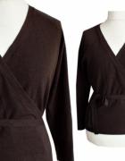 KUPIĘ sweter kopertowy wiązany stonowany kolor