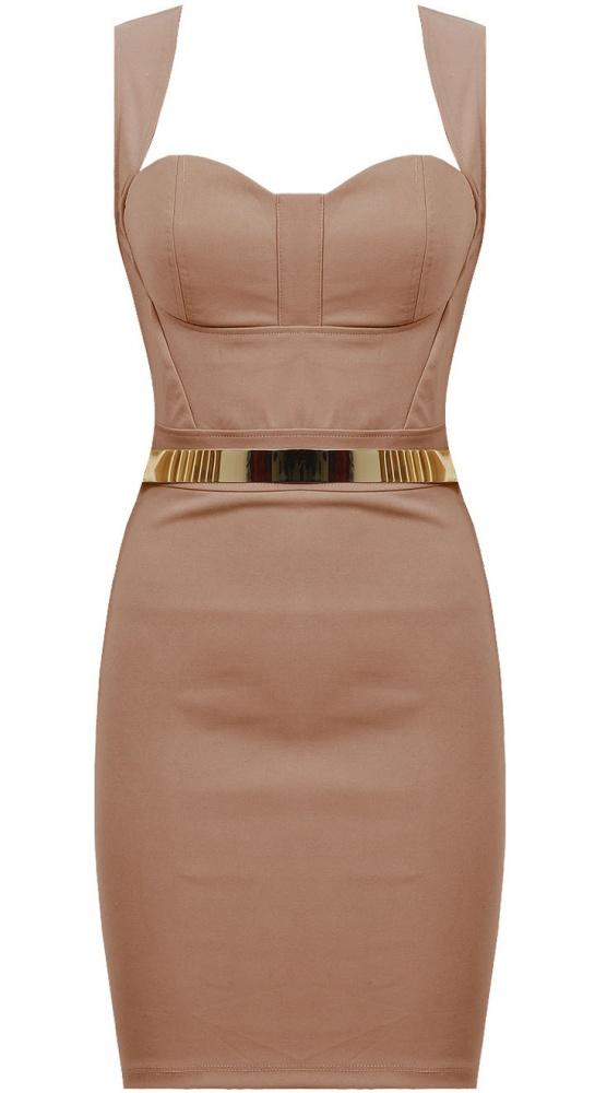 Ubrania Bezowa gorsetowa sukienka