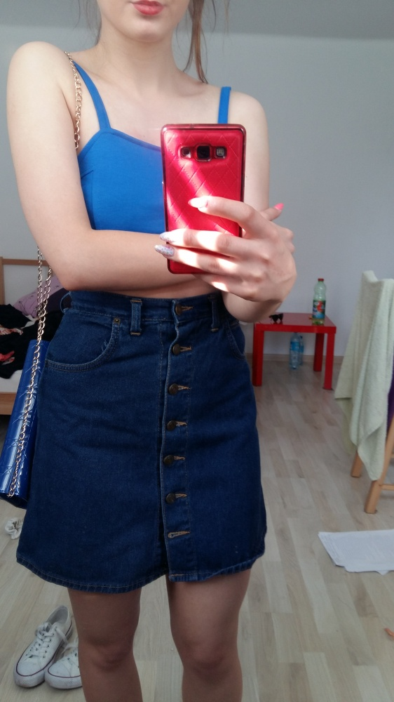 7361f066 spódniczka jeansowa guziki krótka rozkloszowana w Spódnice - Szafa.pl