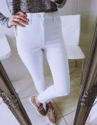 mega białe jeansy rurki spodnie H&M wysoki nowe