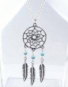 modny srebrny naszyjnik z łapaczem snów