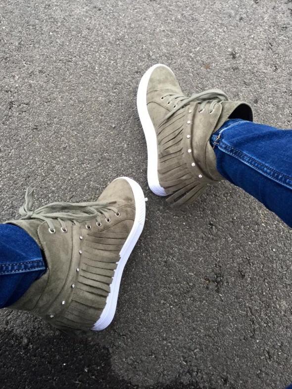 Botki sneakersy trampki frędzle koturn 36 do 41 w Półbuty