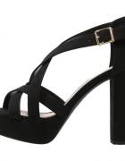 NEW LOOK sandały na platformie i słupki czarne...