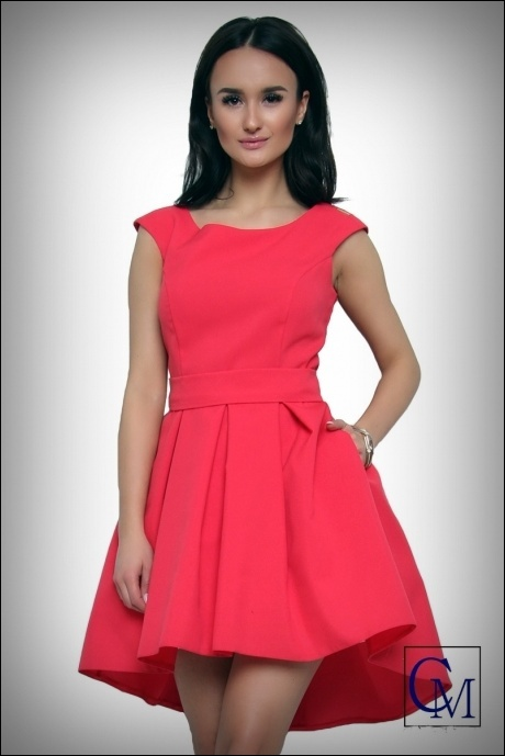 jokastyl Piękna koralowa asymetryczna sukienka M