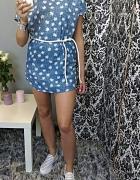ciepła leniwa niedziala jeans sukienka trampki