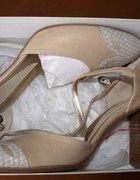 Buty skórzane nowe nude z paseczkiem wokół kost