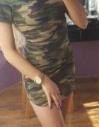 Sukienka moro mini tunika 38 M wojskowa