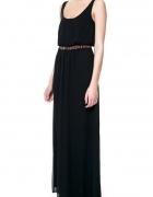 Sukienka ZARA maxi dluga czarna rozmiar S szyfon