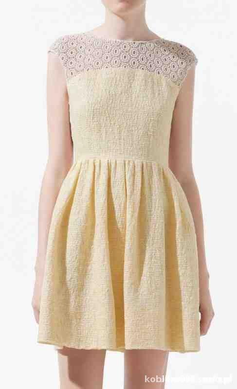 ZARA zolta sukienka koronka rozkloszowana gipiura...