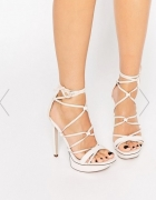 sandały sandałki szpilki na platformie Asos beżowe...