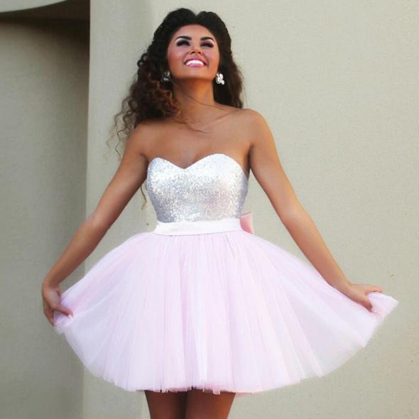0d4e83b5 Sukienka Tiulowa Princeska Koktajlowa Cekiny Wesel w Suknie i ...