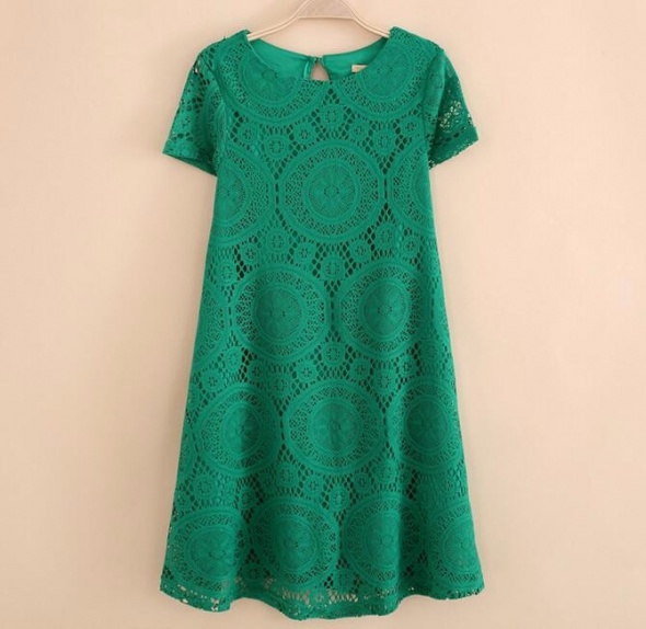 Śliczna koronkowa zielona sukienka