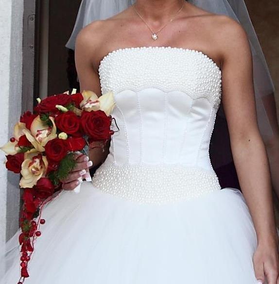 Suknia ślubna Perły Tiul Gorset Ręcznie Wyszywany W Suknie ślubne