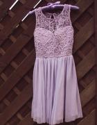 Tally Weijl sukienka tiul koronka lawendowa 36 S