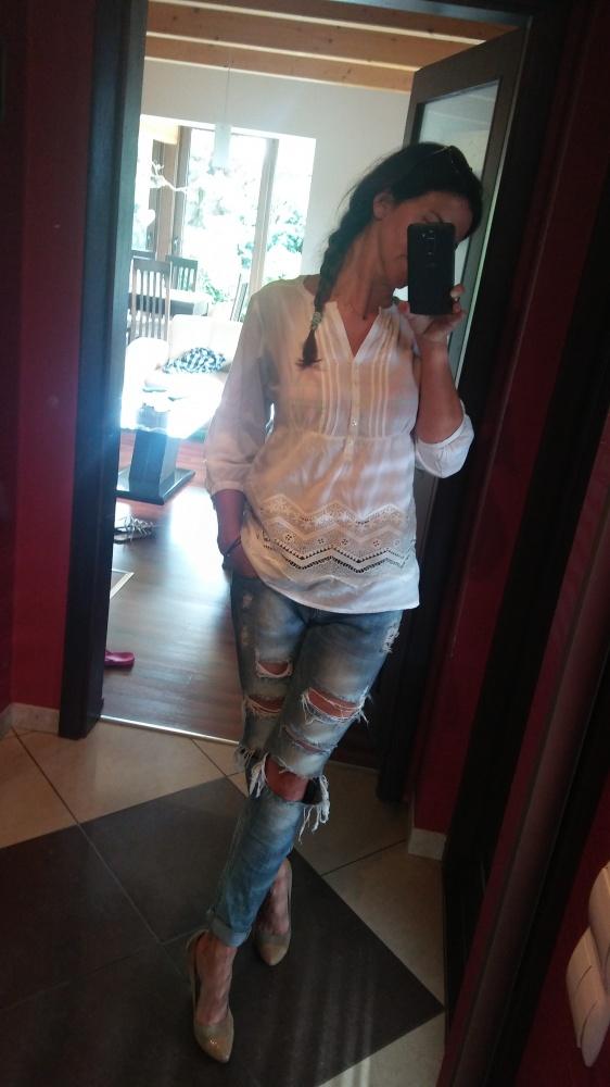 Mój styl Boho bluzka biel koronka