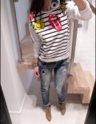 bluza z naszywkami w paski luźna komiks modna S M...