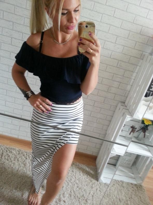 Spódnice mega symetryczna spódnica paski długa mini sexy