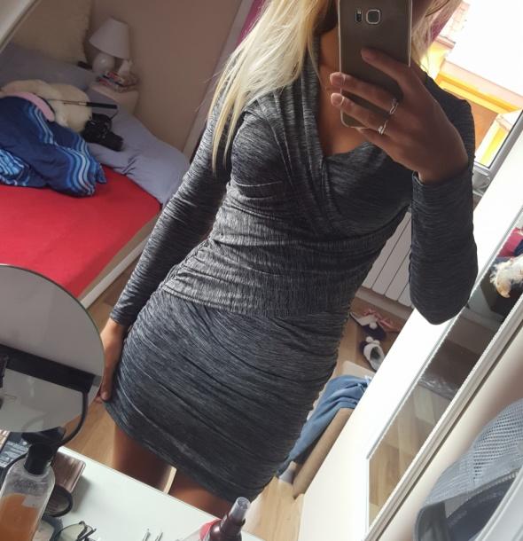 sukienka szara zakładana elastyczna