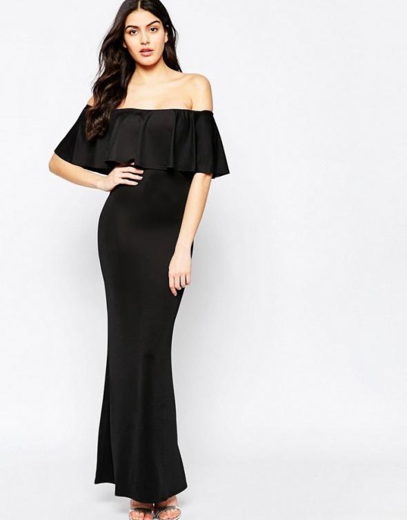 fd03aa3de882bd Asos maxi czarna sukienka hiszpanka falbana 38 w Suknie i sukienki ...