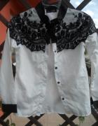 Koszula elegancka śliczna biała z koronką XS