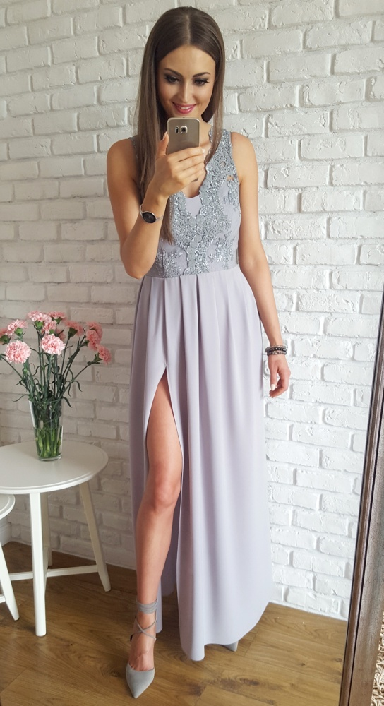 ad5acc27a8 Długa suknia z gipiurową górą szary w Suknie i sukienki - Szafa.pl