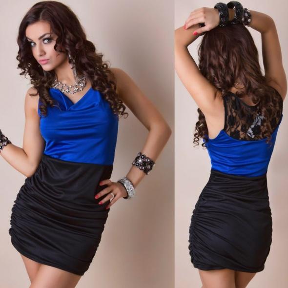 Suknie i sukienki SUKIENKA MINI CZARNA CHABROWA KORONKA PIĘKNA 36 S
