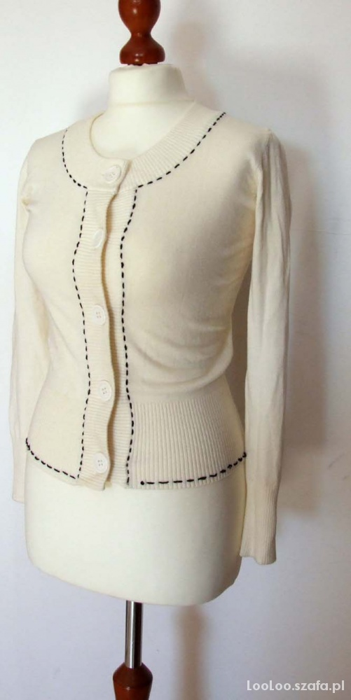 nowy sweter kremowy zapinany na guziki