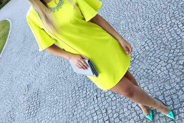 Mój styl limonkowa cytrynowa sukienka i szpile DEEZEE