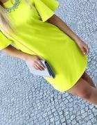 limonkowa cytrynowa sukienka i szpile DEEZEE