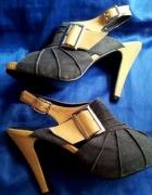 Sandały klapki na obcasie open toe rozmiar 39