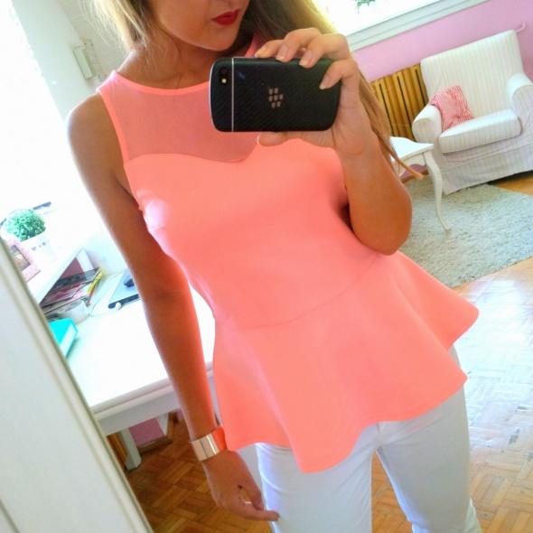 Pomrańczowa bluzka z baskinką H&M neonowa S