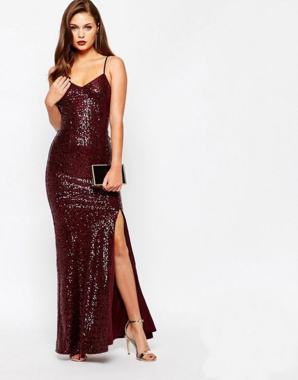 Asos maxi pudrowa plisowana sukienka zwiewna w Suknie i