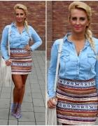 jeansowa koszula i aztecka spódnica